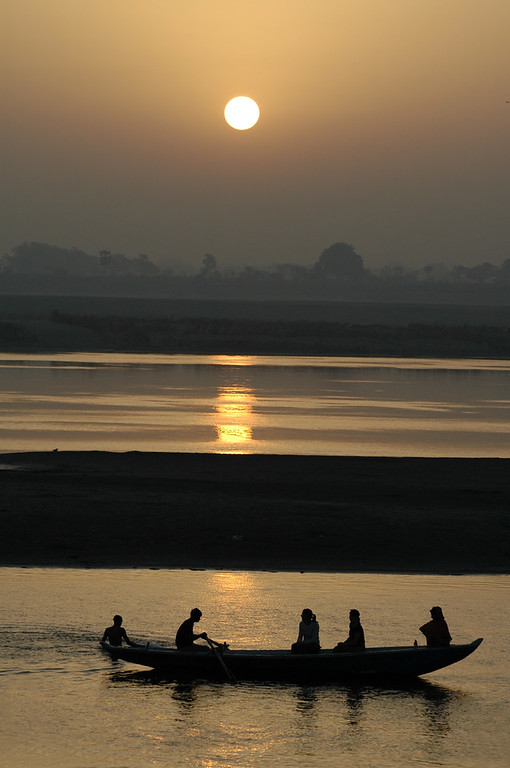 Sunrise boat ride on the Ganges in Varanasi