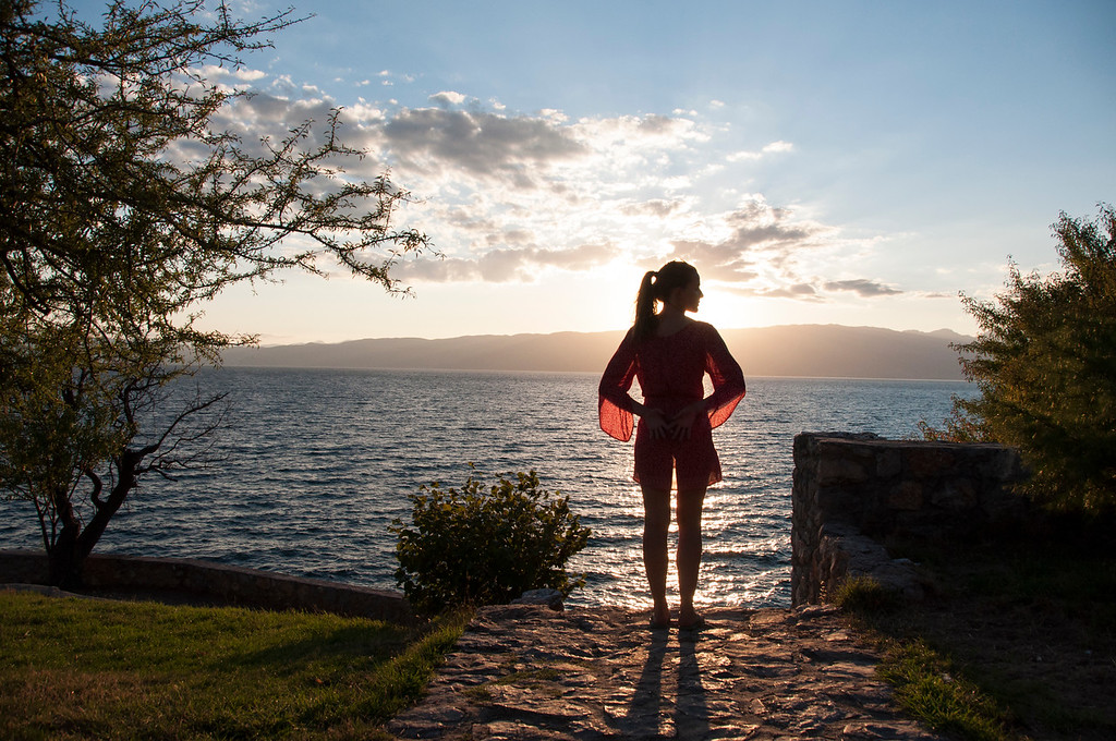 Sunlight shinning through a red dress, Lake Ohrid