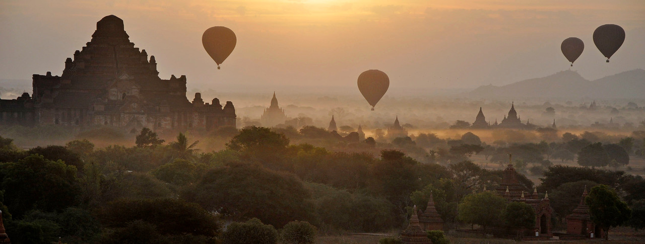 Hot Air Balloons at Sunrise over Bagan, Burma