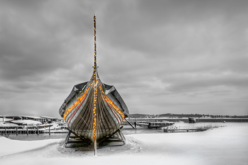 Vikingship on a winter's morning