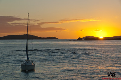 Sailboat at sunset just off of St. John's island, USVI.