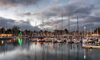 Harbor lights at sunset