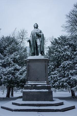 Frankfurt, Germany - December 10: The Shiller Statue in snow on December 10, 2017 in Frankfurt.