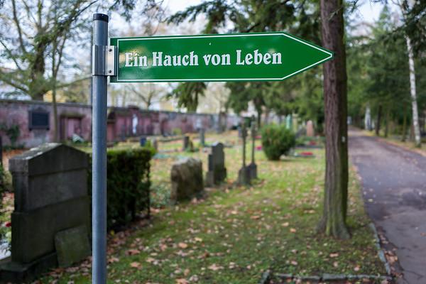Frankfurt, Germany - November 19: Sign on the Frankfurt Hauptfriedhof on November 19, 2017.