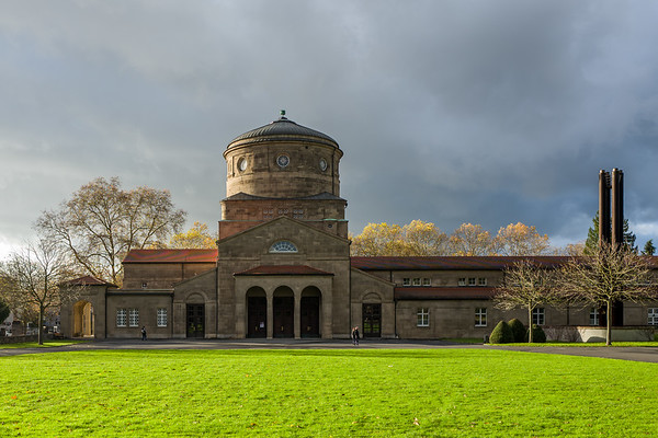 Frankfurt, Germany - November 19: The Trauerhalle on the Frankfurt Hauptfriedhof on November 19, 2017.