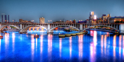 Twilight on the Mississippi  20 x 10 Panoramic