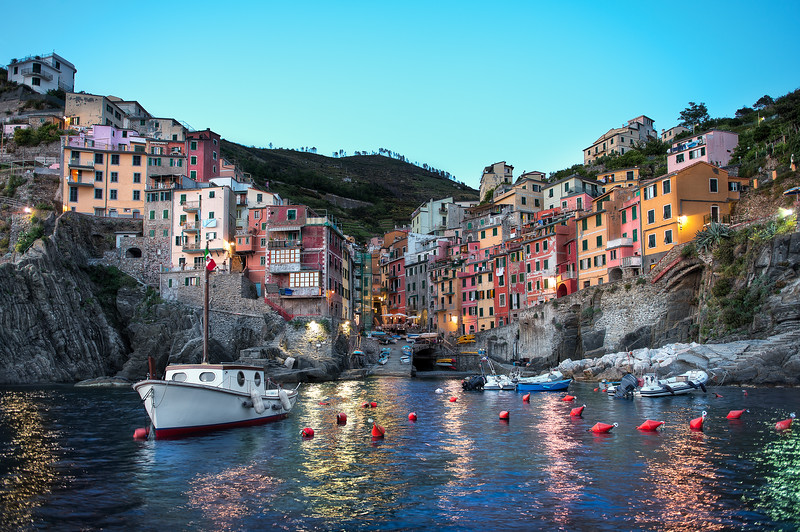 Riomaggiore At Dusk    (Cinque Terre) Italy