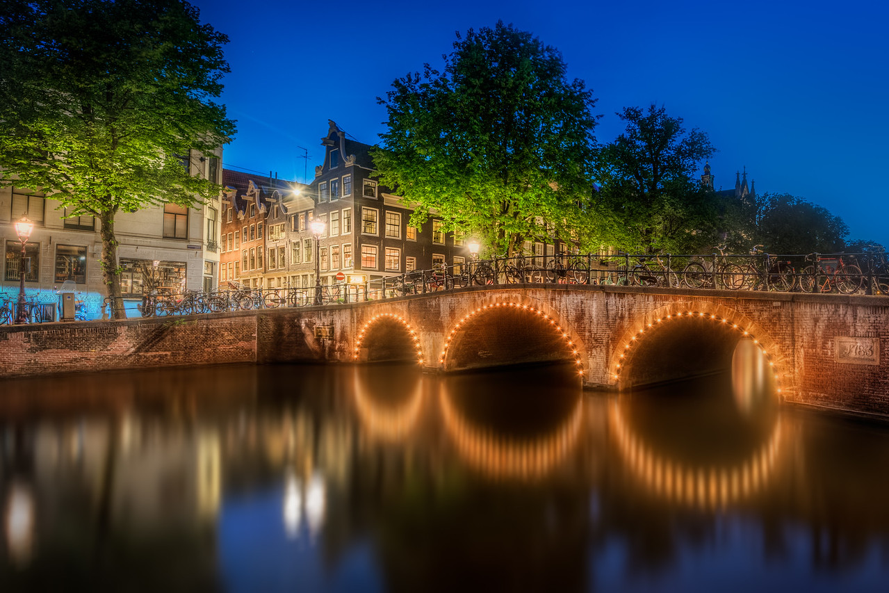 Bridge in Amsterdam by night