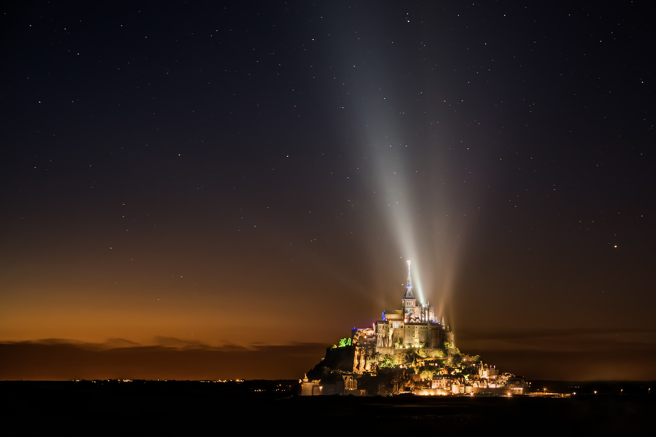 Mont Saint Michel at a distance at night