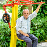 elderly man doing some workout in a park in the centre of Isfahan