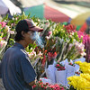 Burmese selling flowers on a market
