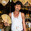 Indian with hand fan in Varanasi