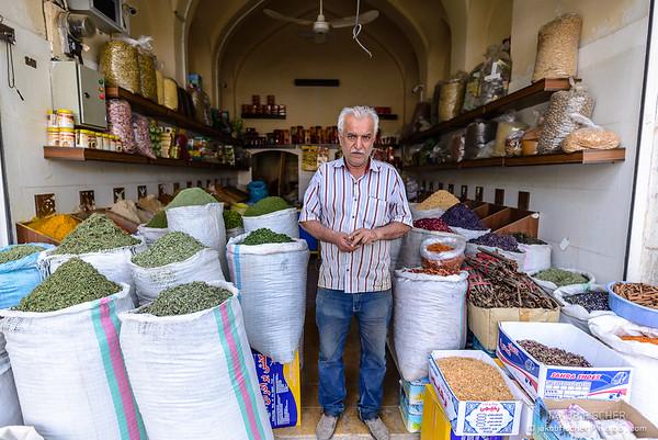 iranian vendor at the bazar in Shiraz