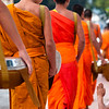 Monks during alms giving ceremony