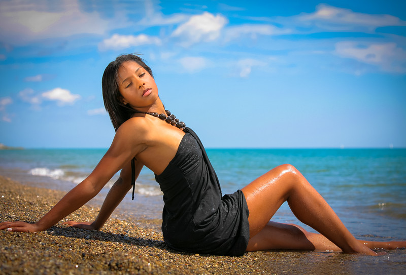 Healthy Natural Looking Young African American at Beach Eye Closed