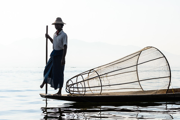 Leg rowing fisherman at Inle Lake