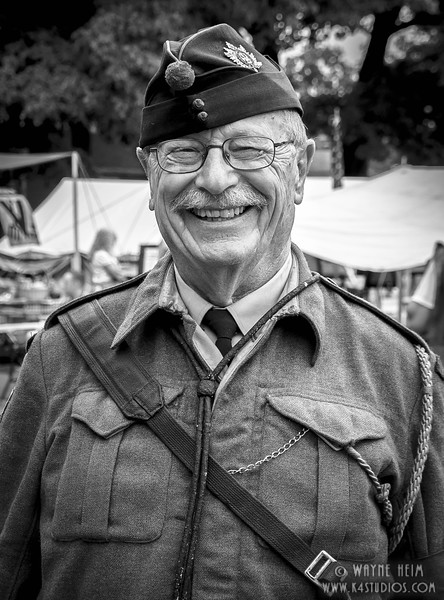 Happy Reenactor     Black and White Photography by Wayne Heim