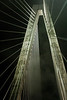 4/5<br /> <br /> View of one of the supports for the Ravenel Bridge over the Cooper River in Charleston, SC.  My husband and I ran the Bridge run this year and loved it (10K)!  What an amazing race!  Since I wasn't about to drag my camera with me on the run (HA - can you imagine?) we went over it again that evening and I took this photo.  You can see the fog floating around it.