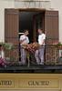 Apprentice Patissiers on balcony, Villereal Market, SW France.