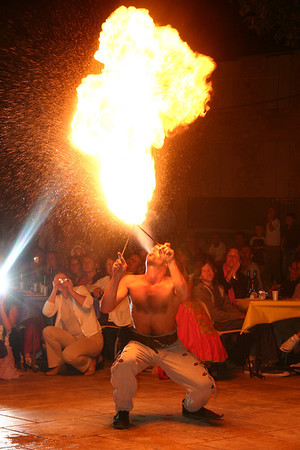 Fire-eater performing at Monflanquin medieval festival.
