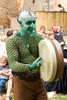 'Medieval' musician performing at Gavaudun medieval festival.