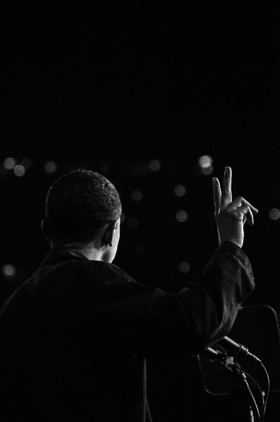 President Barack Obama takes the stage at the University of Cincinnati in 2008.