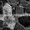 Gravestones, Old Jewish Cemetery, Prague. Monochrome.