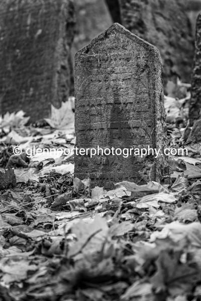 Gravestone, Old Jewish Cemetery, Prague. Monochrome.
