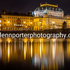 An evening image of the National Theatre, Prague.