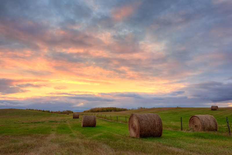 Hay Bales at Sunset