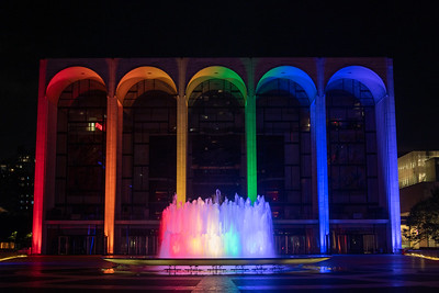 New York City Lights Up In Support Of The 50th Anniversary Of The First Gay Pride March NEW YORK, NEW YORK - JUNE 18: The Lincoln Center for the Performing Arts lits up in pride colors on June 18, 2020 in New York City. Due to the ongoing Coronavirus pandemic, this year's march had to be canceled over health concerns. The annual event, which sees millions of attendees, marks its 50th anniversary since the first march following the Stonewall Inn riots. (Photo by Alexi Rosenfeld/Getty Images)