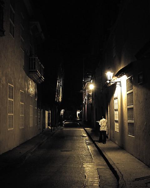 Street At Night Cartagena Colombia