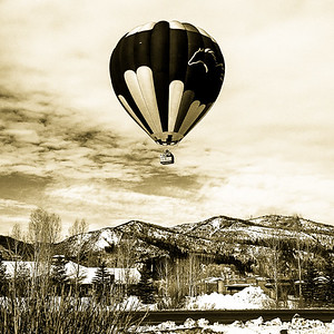 Hot Air Balloon Over Steamboat Springs, CO