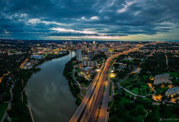 Dawn on a vibrant night along I-35 & Riverside
