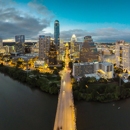 The Bats Emerge (view of Downtown Austin from the Congress Bridge)