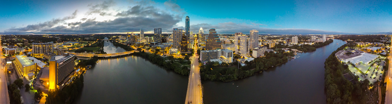 The Bats and the Bridges - Downtown Austin ( 360° Aerial Panoramic)