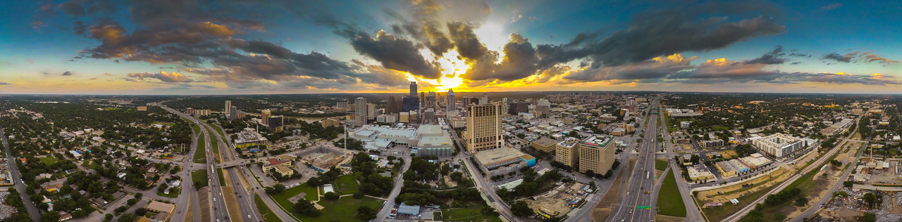 Downtown Austin from the EastSide ( 360° Aerial Panoramic)