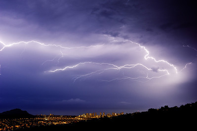Thor's Hammer over Diamond Head and Waikiki, Oahu, Hawaii