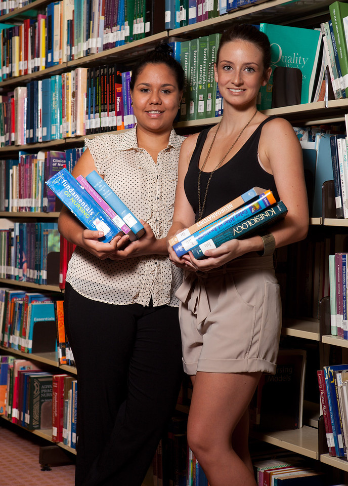 16 March 2012 Townsville, QLD - James Cook University students Candice Lamb, 21 (black top) (Bachelor of Physiotherapy) and Cassie Berto, 18 (Bachelor of Nursing) - Photo: Cameron Laird (Ph: 0418238811)