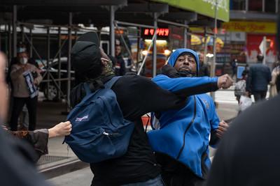 Pro Trump and Anti Trump Protestors Clash in Times Square