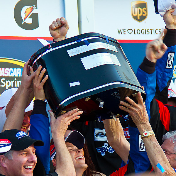How Sweet it is Bayne with the Daytona 500 Trophy