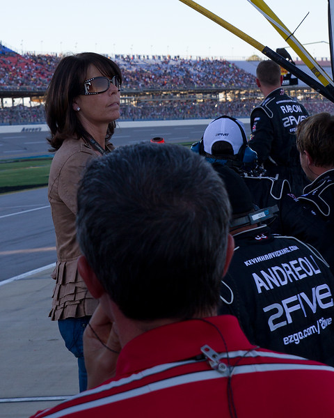 Hornaday Team, Owners, Friends, and Sponsors anxiously watch as Hornady climbs back to the fron of the pack at Talladega during the Mountain Dew 250.
