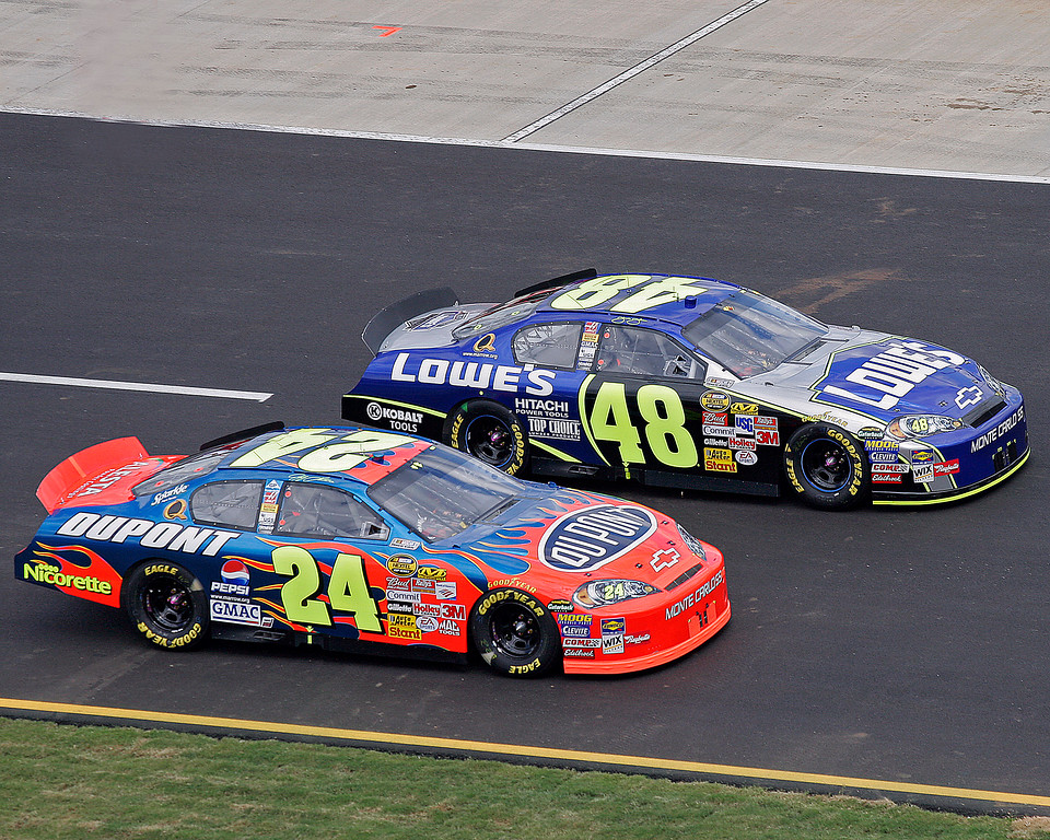 Jeff Gordon #24 Dupont and Jimmie Johnson #48 Lowe's cars side-by-side at Talladega