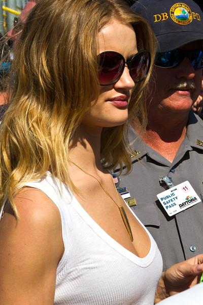 DBPD keeps an eye on Grand Marshall Rosie Huntington-Whiteley during the 2011 Daytona 500.