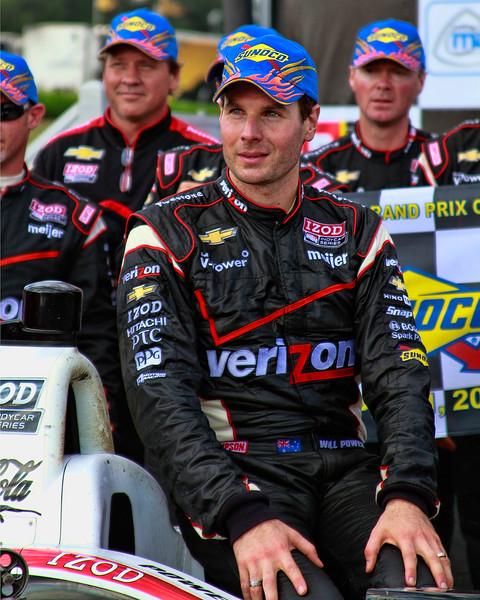 Will Power Sunoco Hat Victory Lane Indy Grand Prix of Alabama