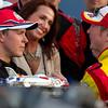 Kurt Busch congratulates Trevor Bayne in Victory Lane after Daytona 500 win.