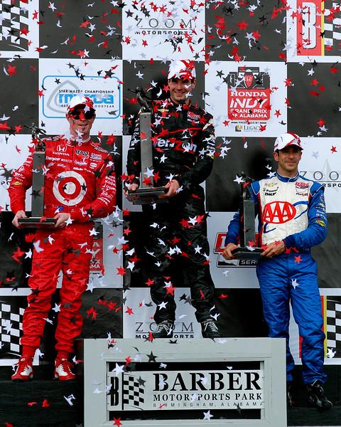 IndyCar Podium Indy Grand Prix of Alabama Will Power Scott Dixon and Helio Castroneves