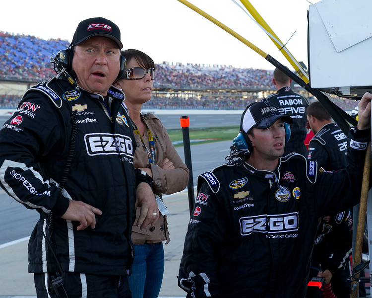 """Hornaday Team, Owner, Sponsors, Family and Fans watch as Ron and his EZ-GO #33 Truck fight to the front prior to the """"Big One"""" at Talladega's 2010 Mountain Dew 250."""