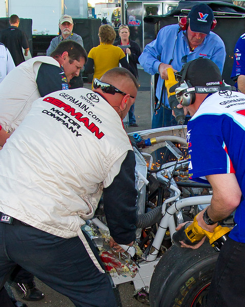 Todd Bodine's Team Used Saws, Torches, Tools, and Muscle to get his NASCAR Truck from behind the Wall and Back on Track at Talladega