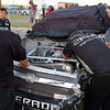 """Post crash, the Kevin Harvick, Inc., Hornaday Team works on Camping World Truck #33 after the """"Big One"""" at Talladega."""